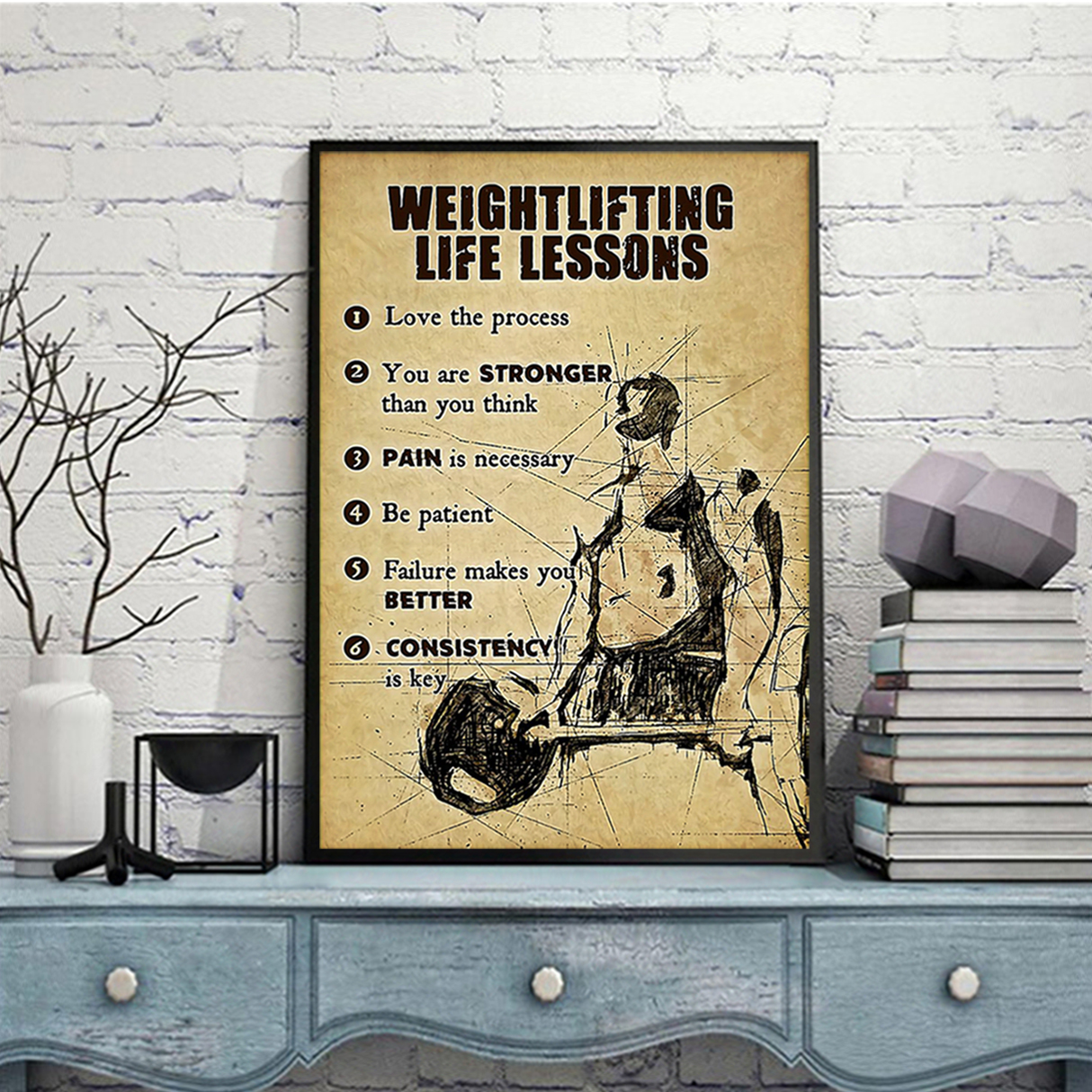 Fitness weightlifting life lessons poster A1