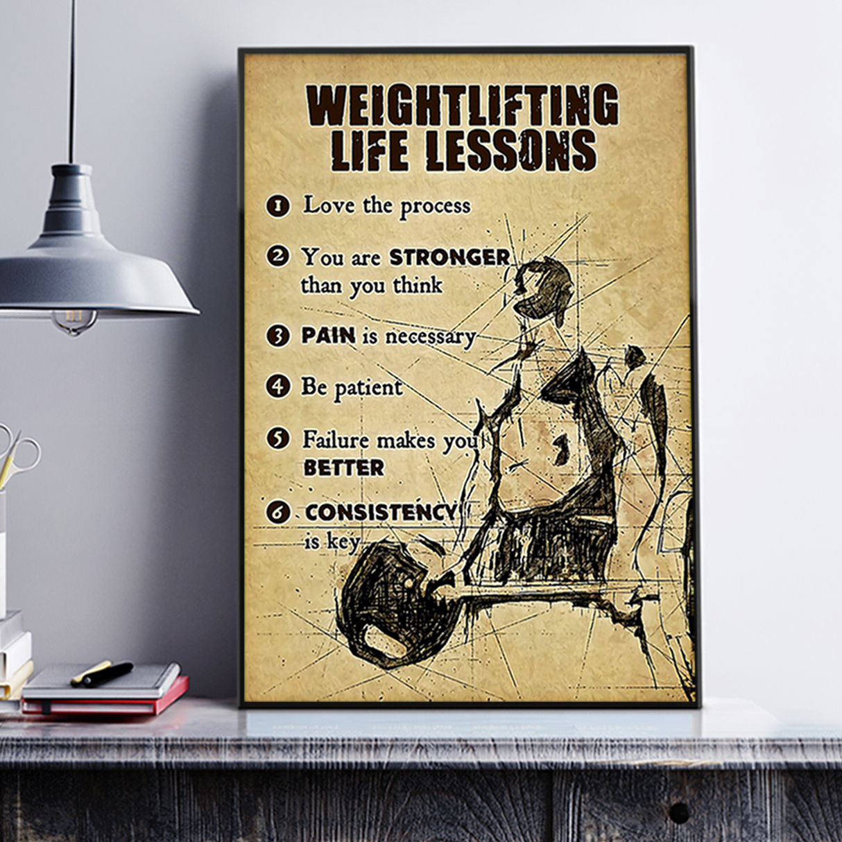 Fitness weightlifting life lessons poster A2
