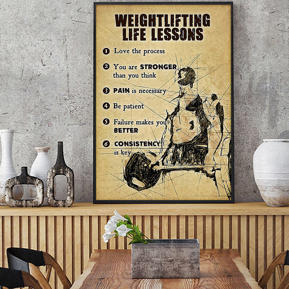 Fitness weightlifting life lessons poster A3