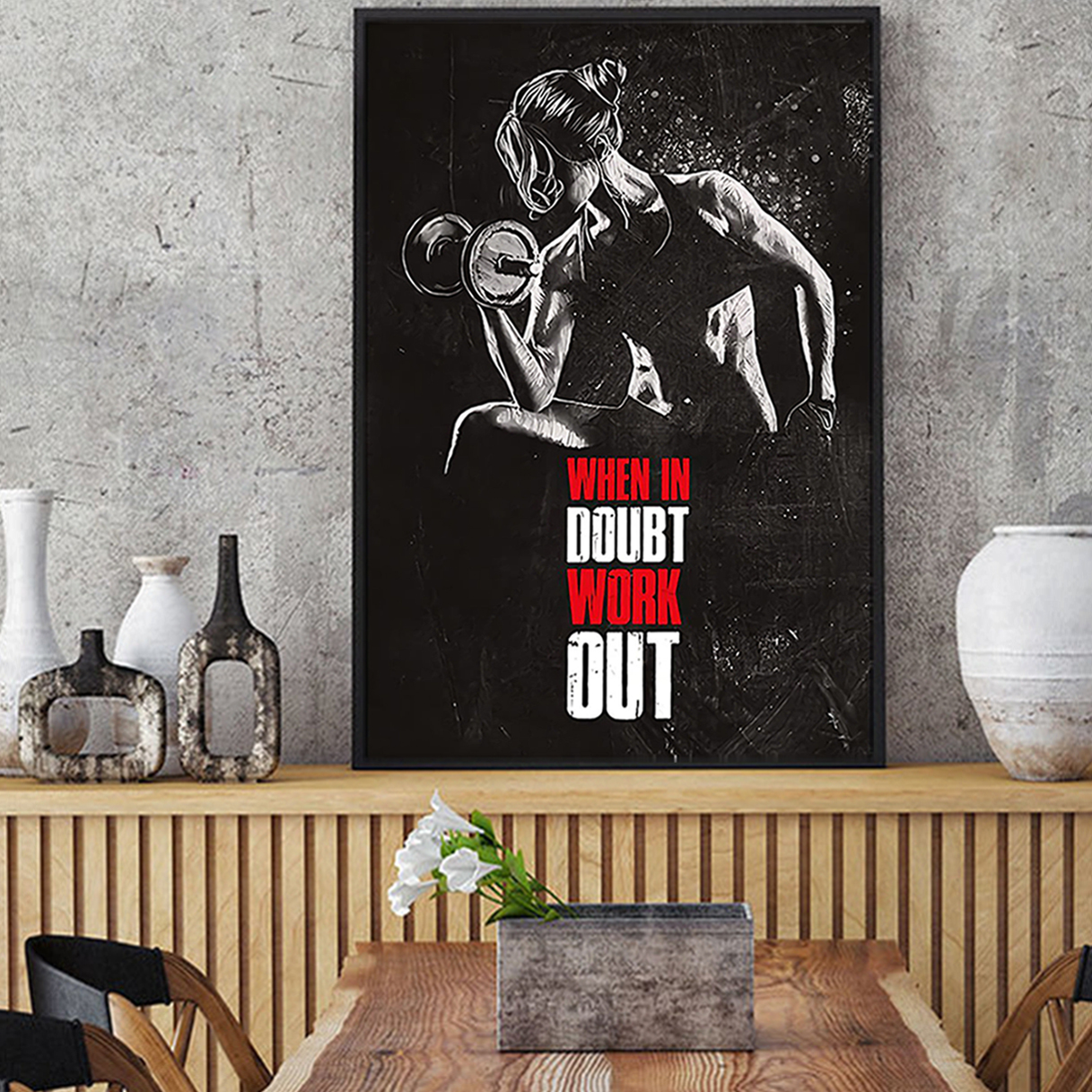 Fitness when in doubt work out poster A1