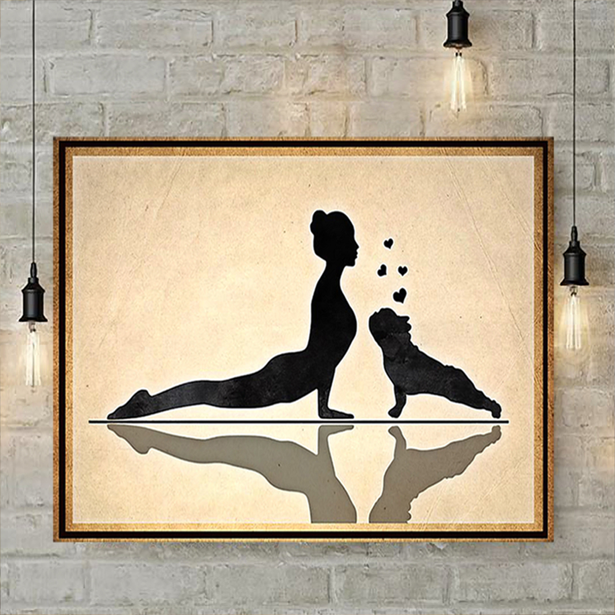 Frenchie and yoga poster A1