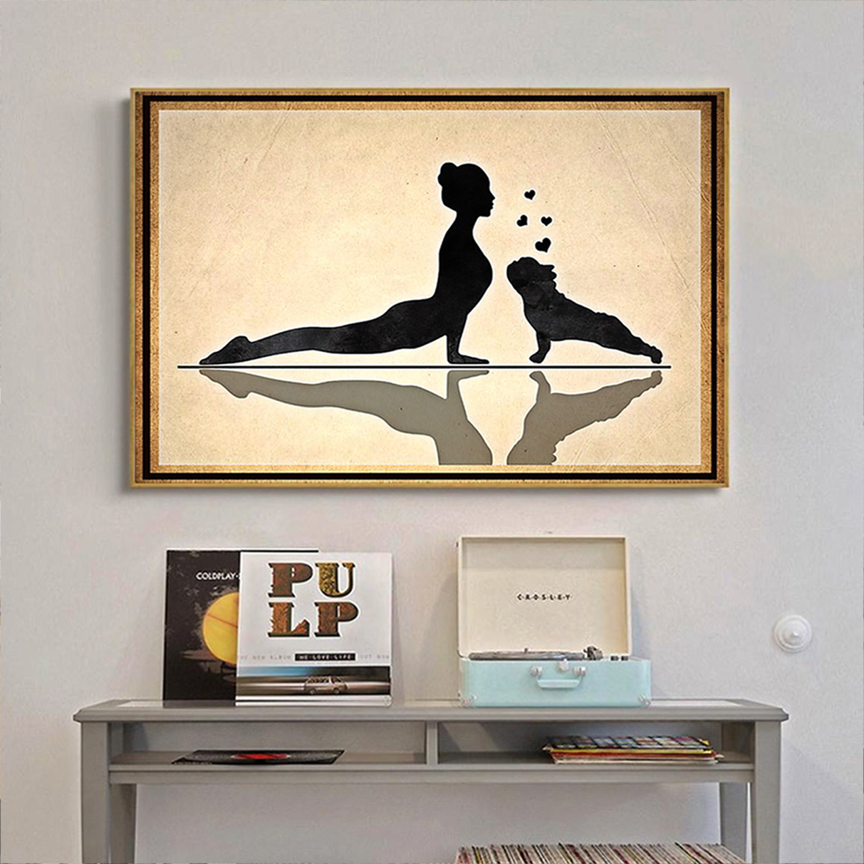 Frenchie and yoga poster A3