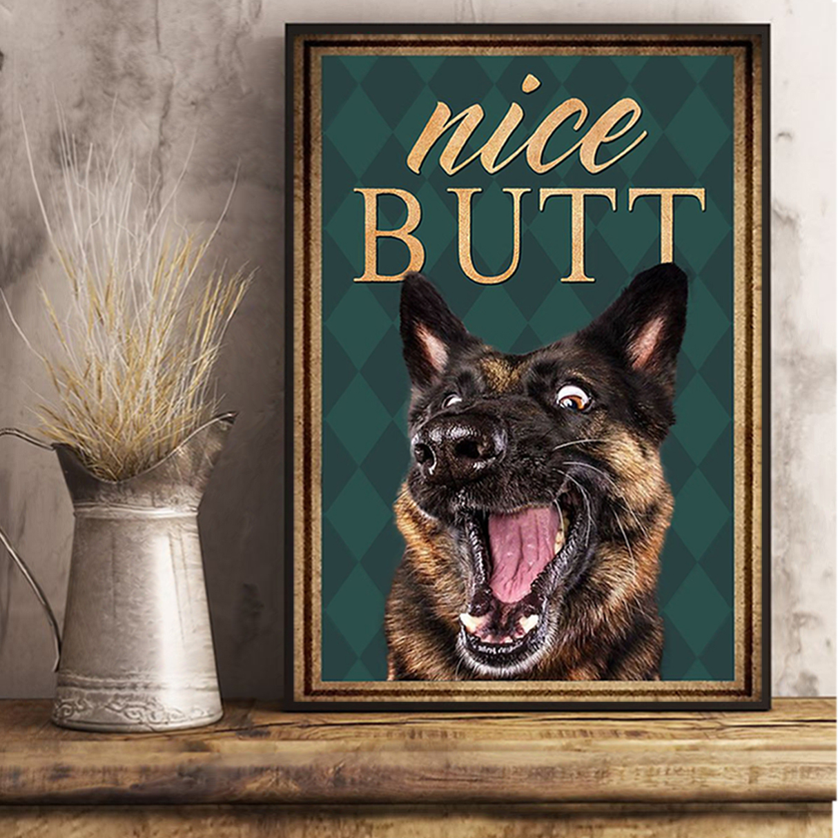 German shepherd nice butt poster A3