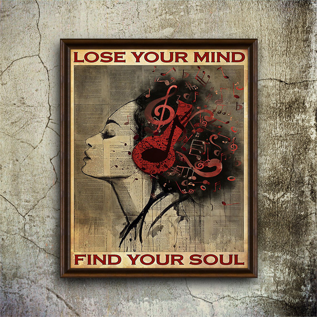 Girl headphone lose your mind find your soul poster A2