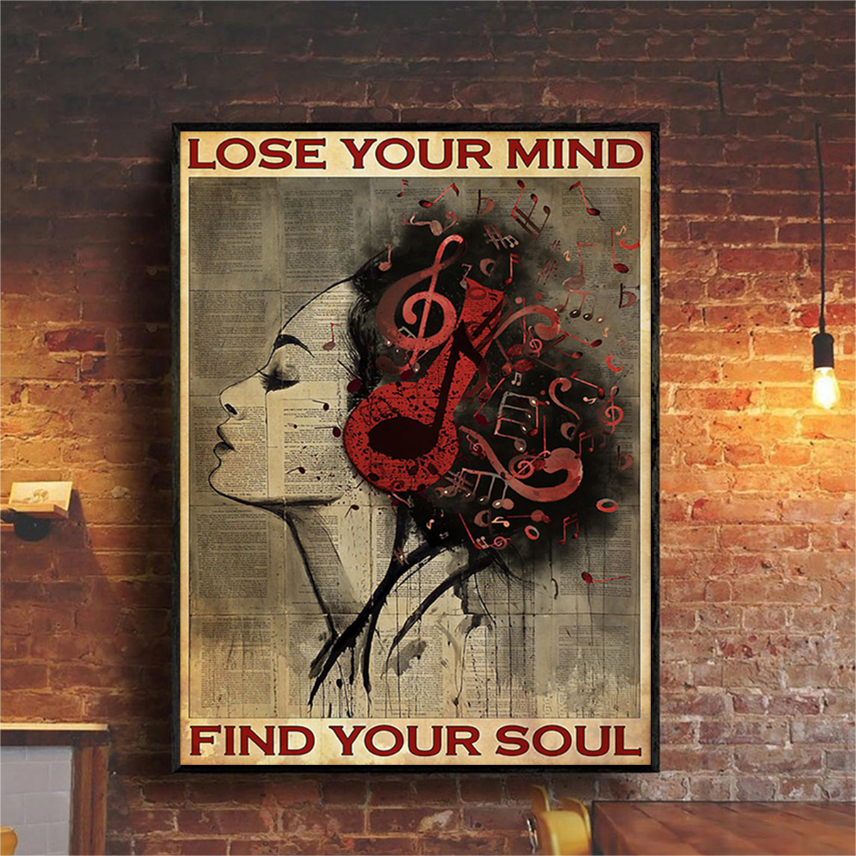 Girl headphone lose your mind find your soul poster A3