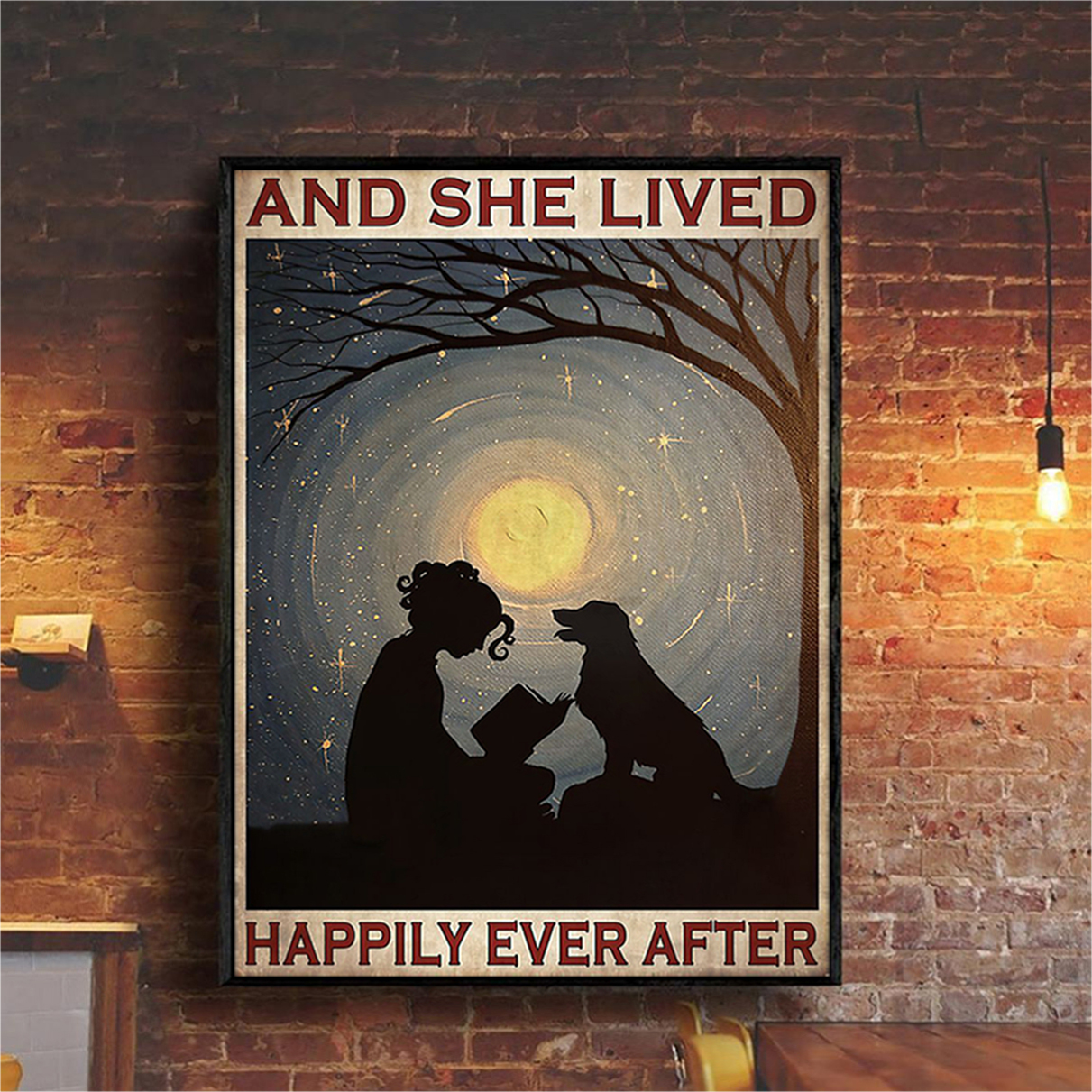 Girl reading with dog and she lived happily ever after poster A1