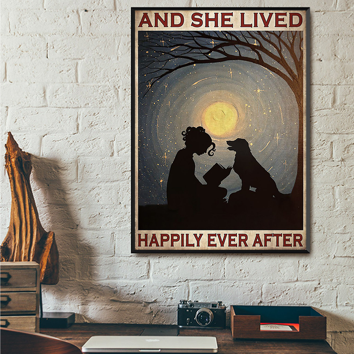 Girl reading with dog and she lived happily ever after poster A2
