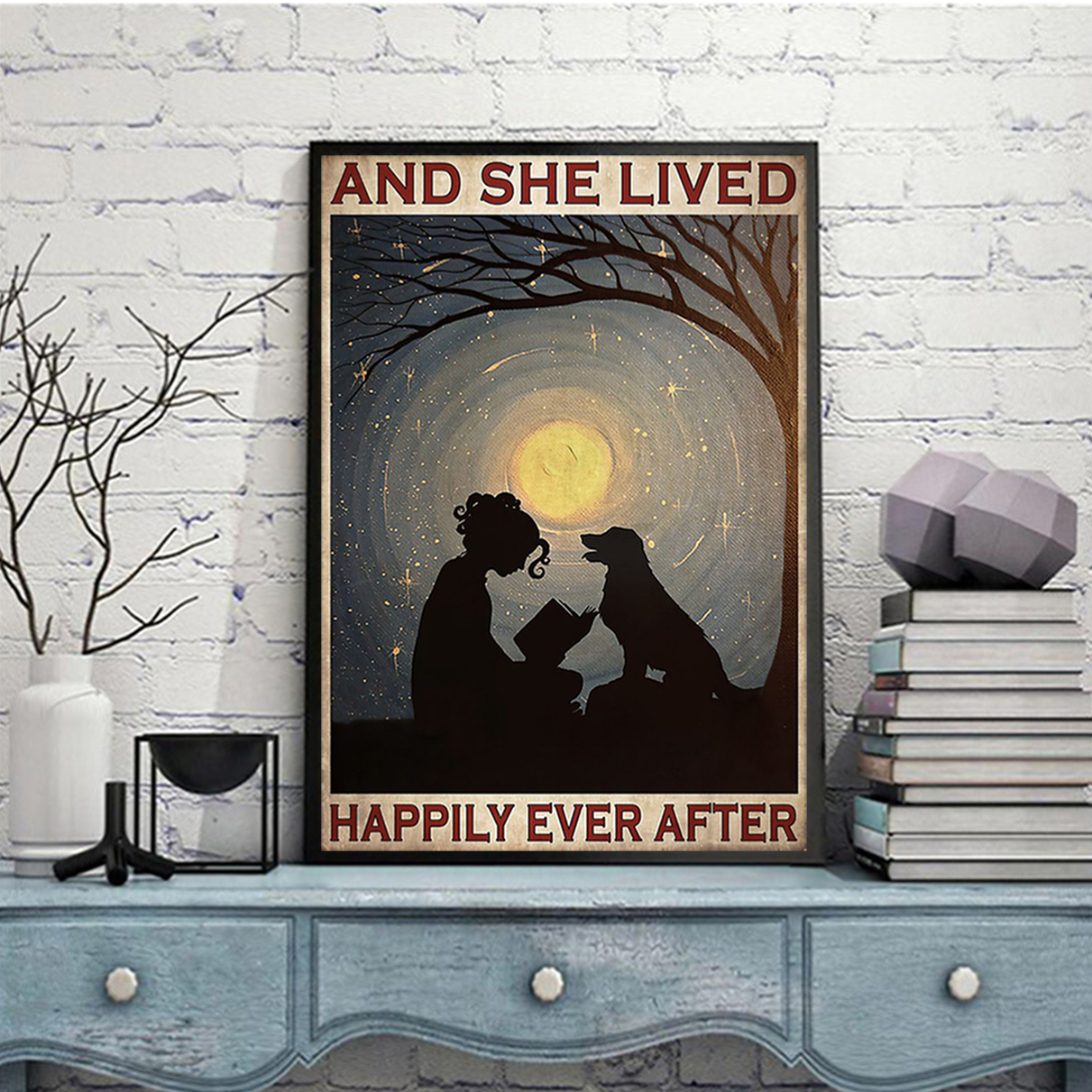 Girl reading with dog and she lived happily ever after poster A3