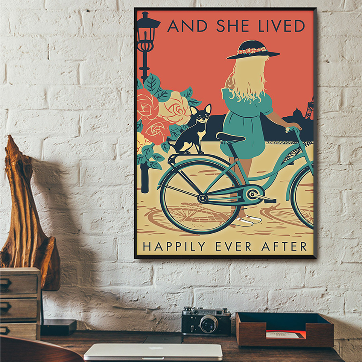 Girl with black chihuahua and she lived happily ever after poster A1