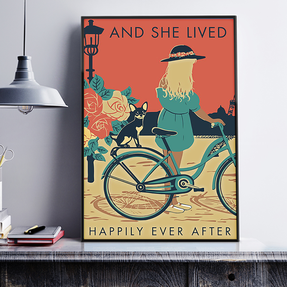Girl with black chihuahua and she lived happily ever after poster A3