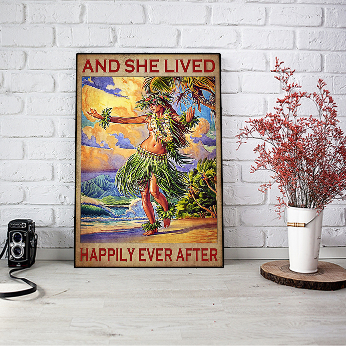 Hawaii girl and she lived happily ever after poster A2