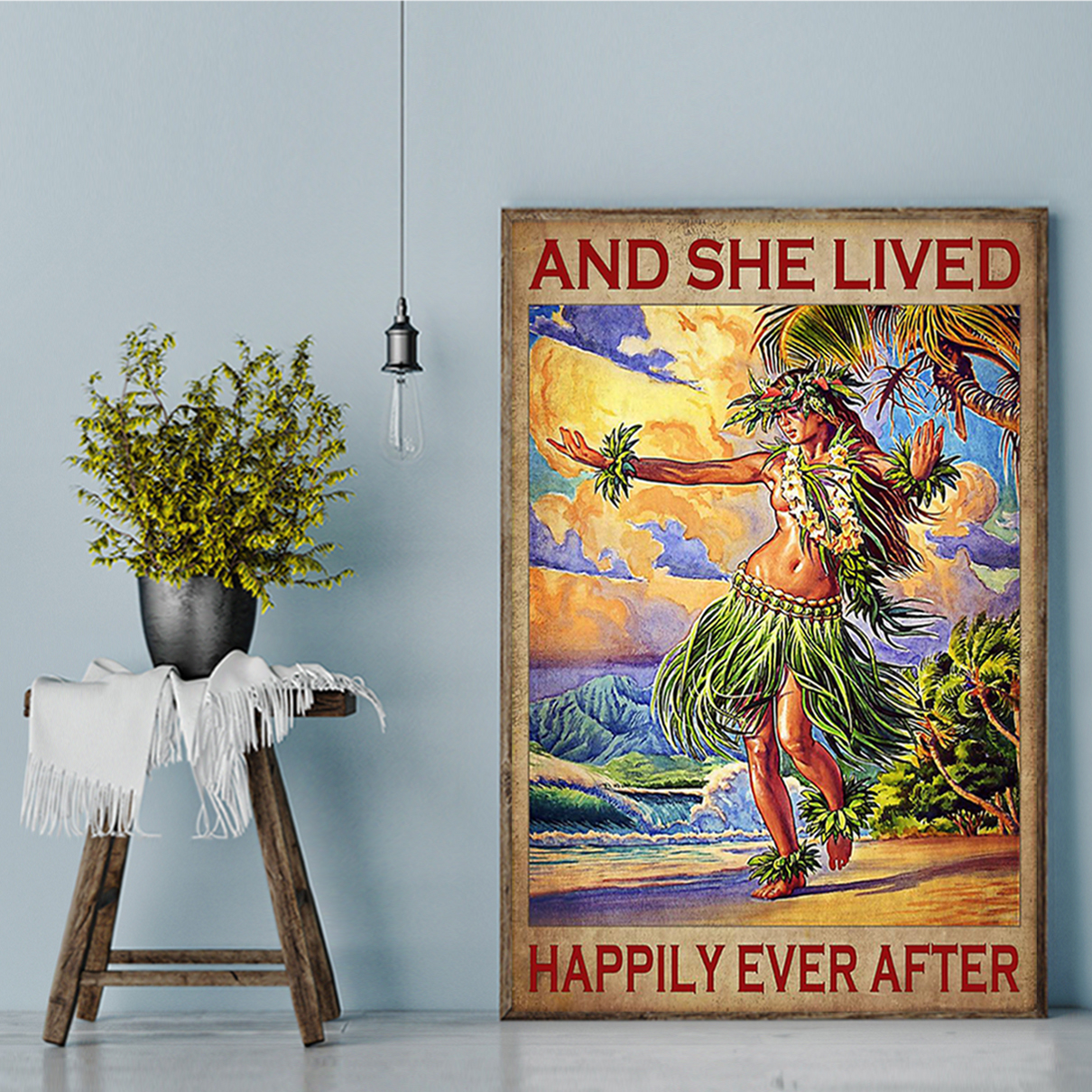 Hawaii girl and she lived happily ever after poster A3