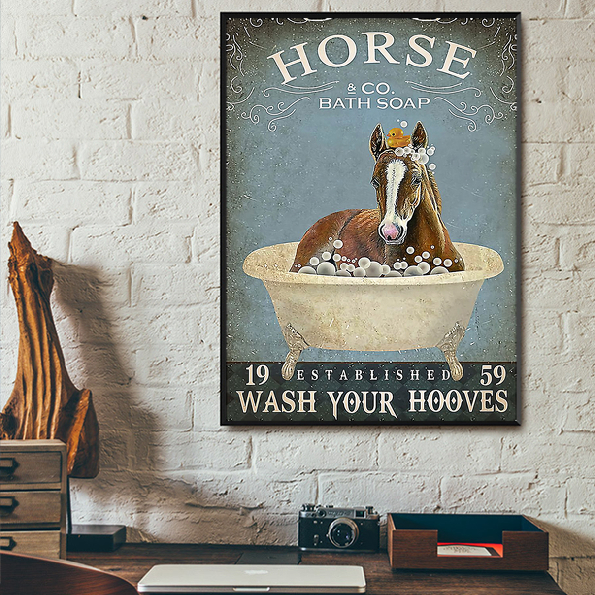 Horse and co bath soap wash your hooves poster A3