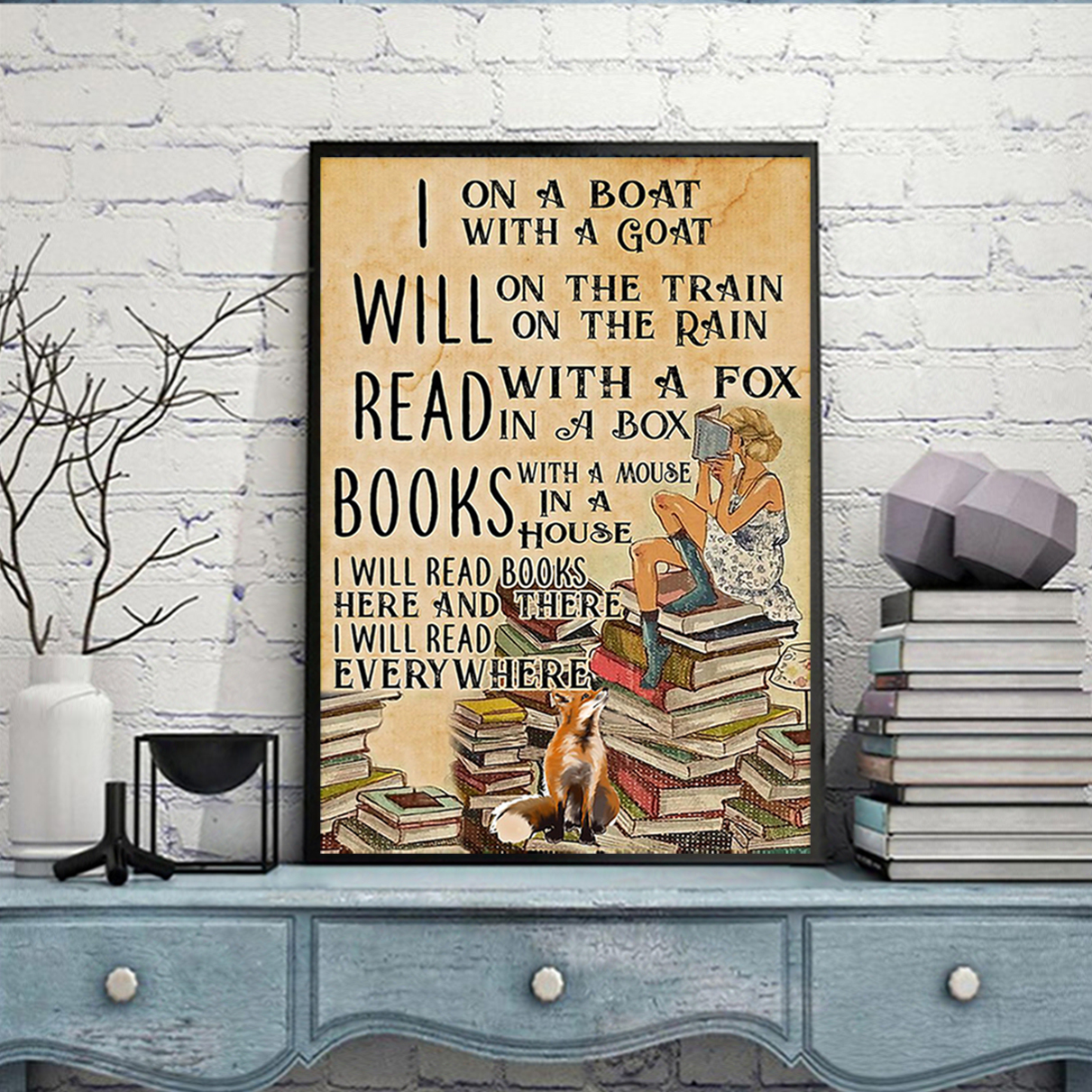 I will read books on a boat with a goat poster A1