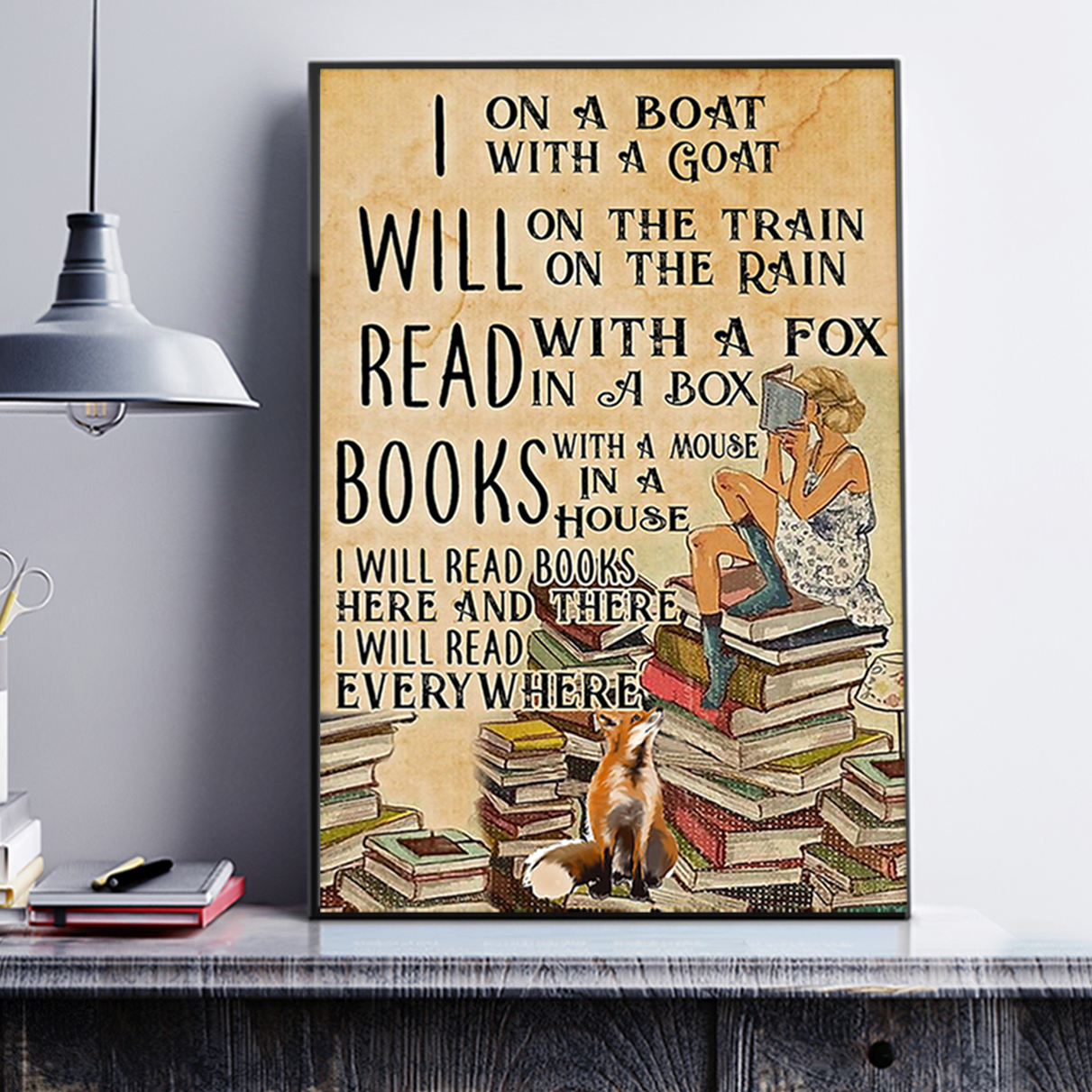 I will read books on a boat with a goat poster A2
