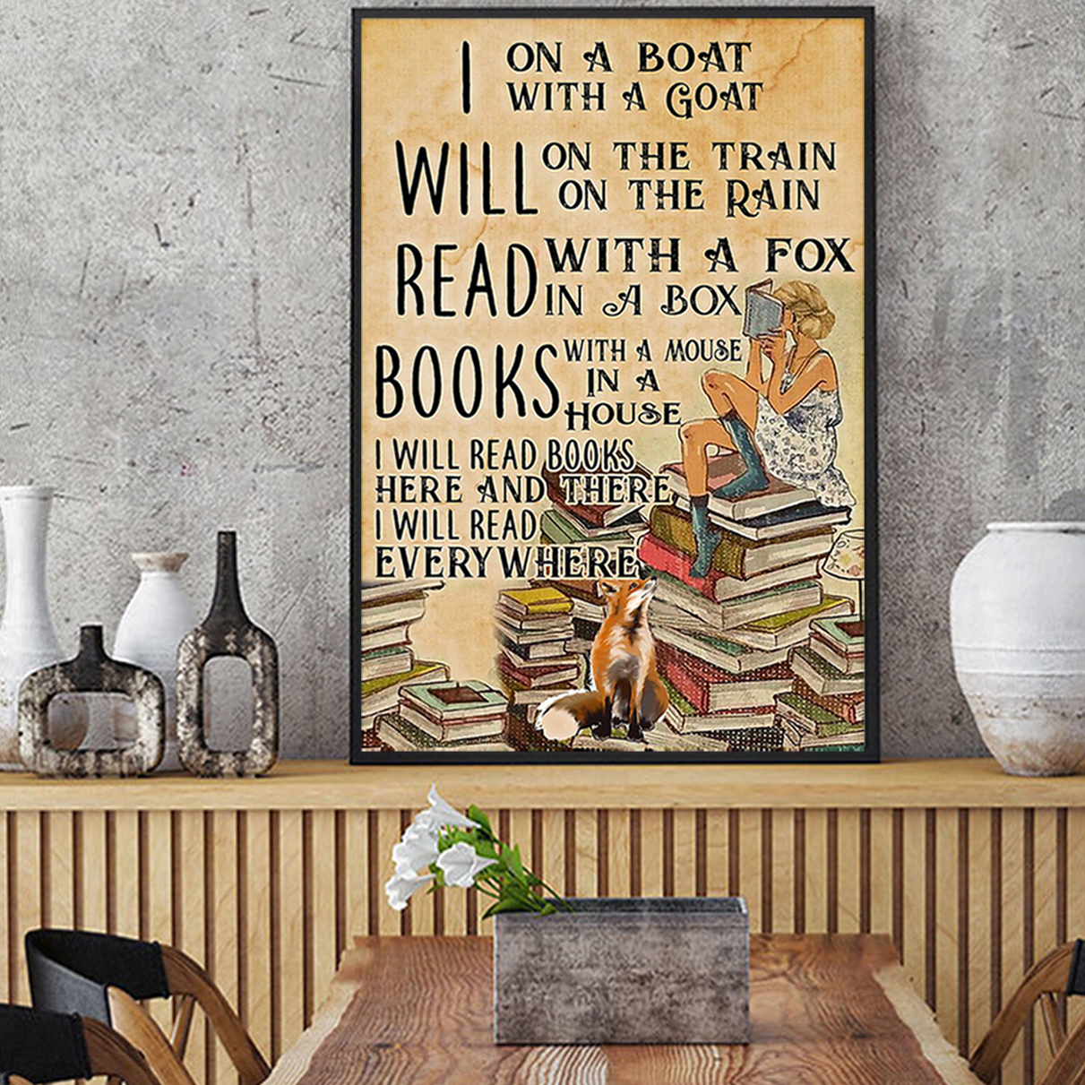 I will read books on a boat with a goat poster A3