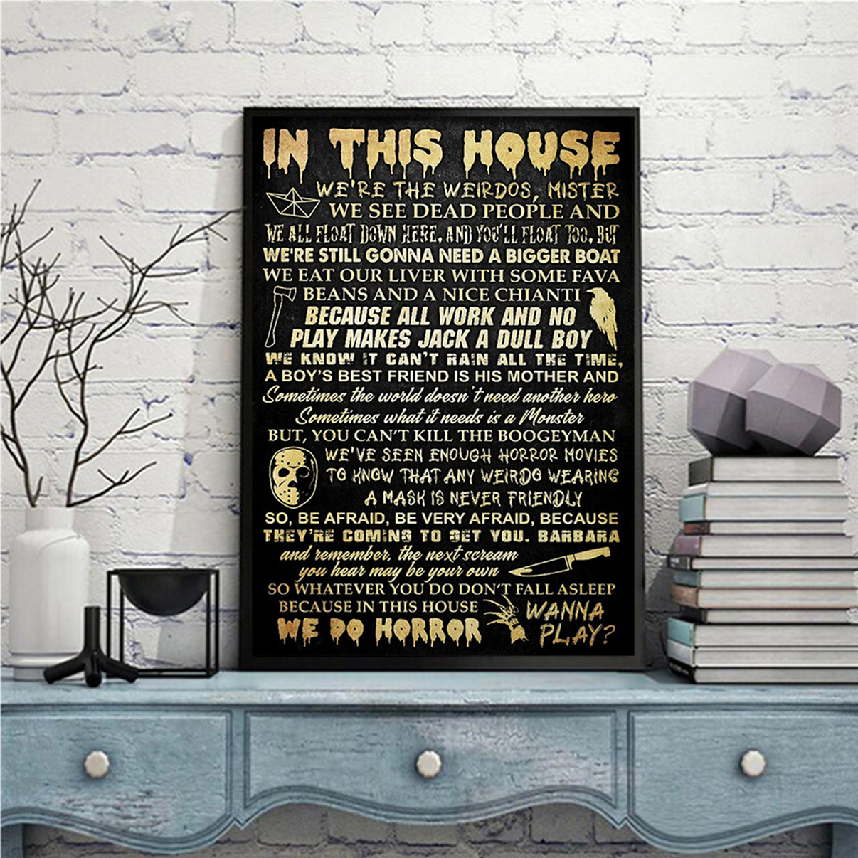 In this house horror movie poster A3