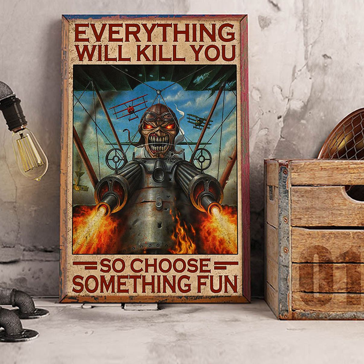 Iron maiden fighter pilot everything will kill you so choose something fun poster A2