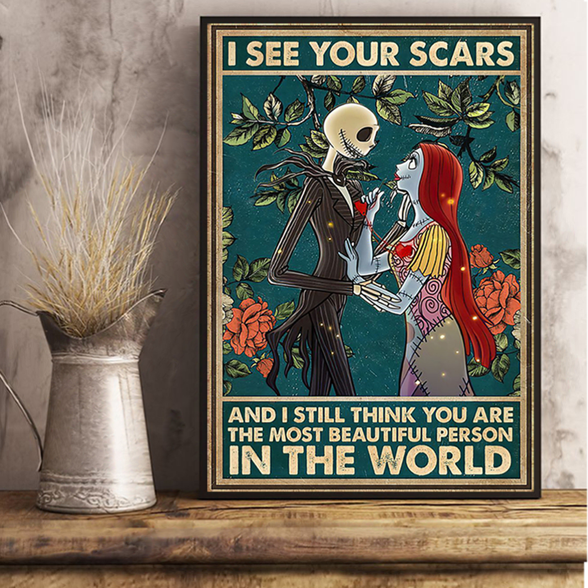 Jack skellington and sally I see your scars poster A1