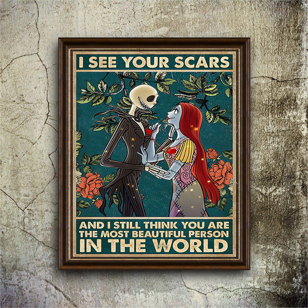 Jack skellington and sally I see your scars poster A3