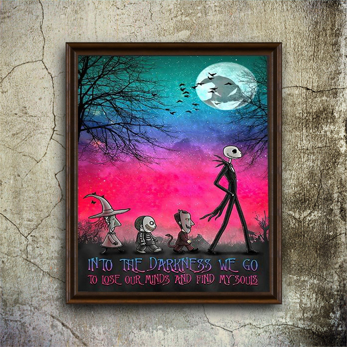 Jack skellington into the darkness we go to lose our minds poster A2