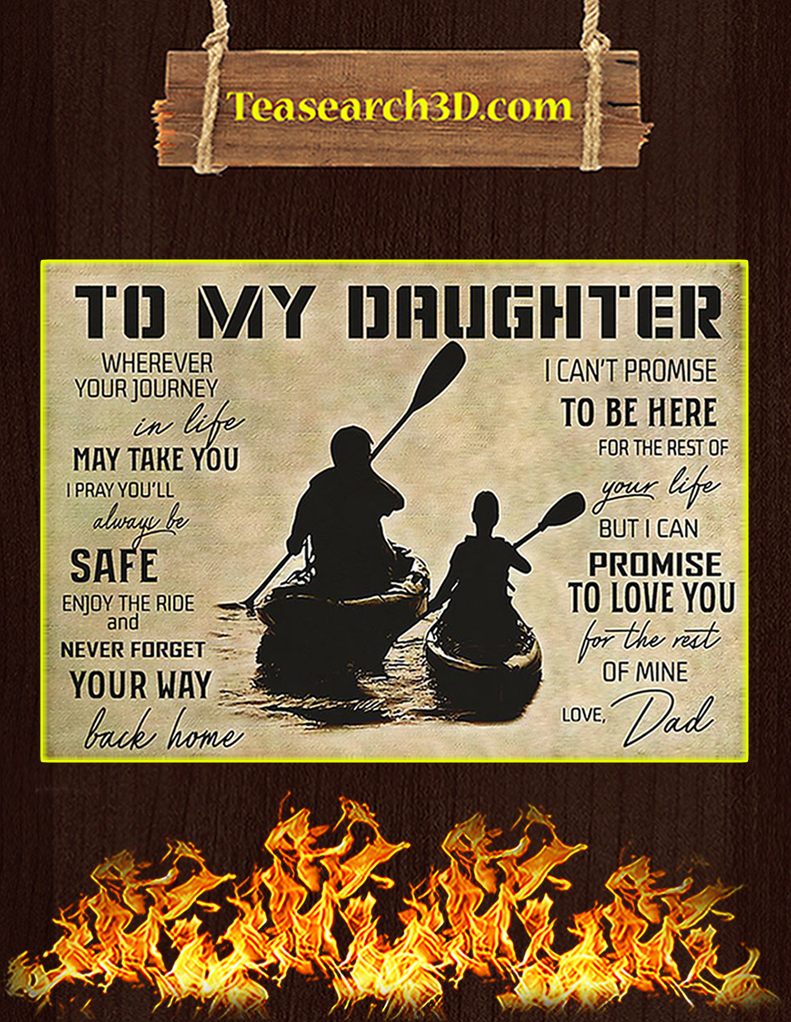 Kayaking to my daughter love dad poster A3