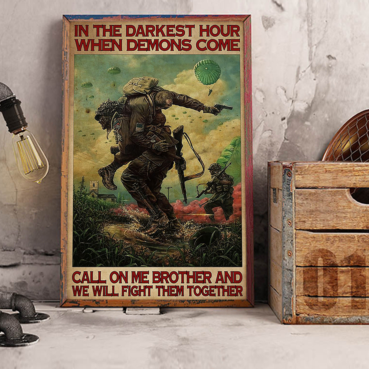 Military in the darkest hours when demons come poster A2