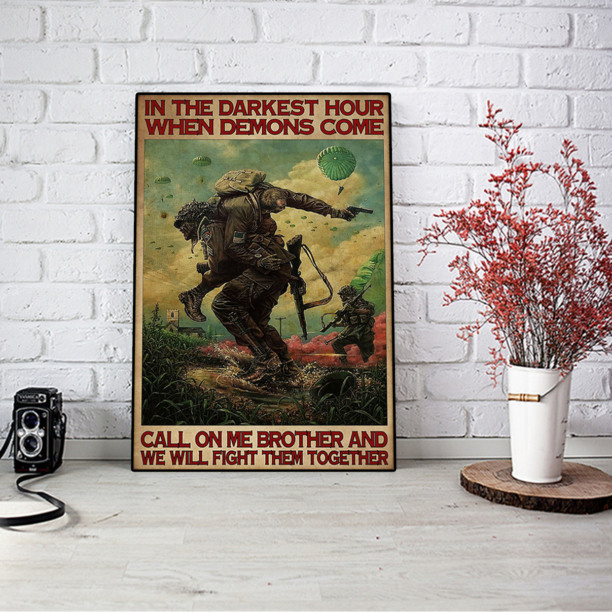 Military in the darkest hours when demons come poster A3