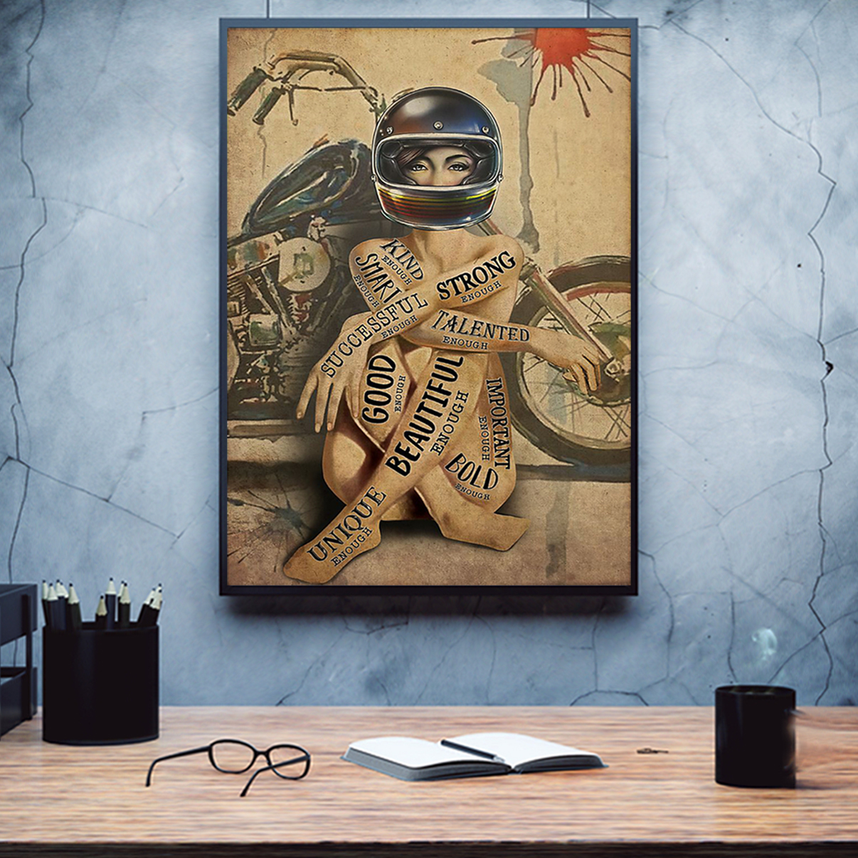 Motorcycle girl I am poster A1