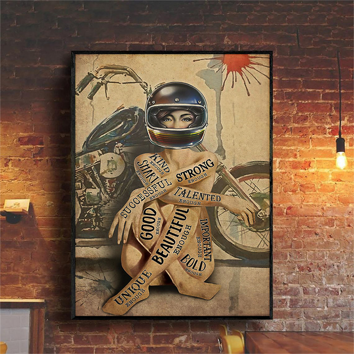 Motorcycle girl I am poster A3