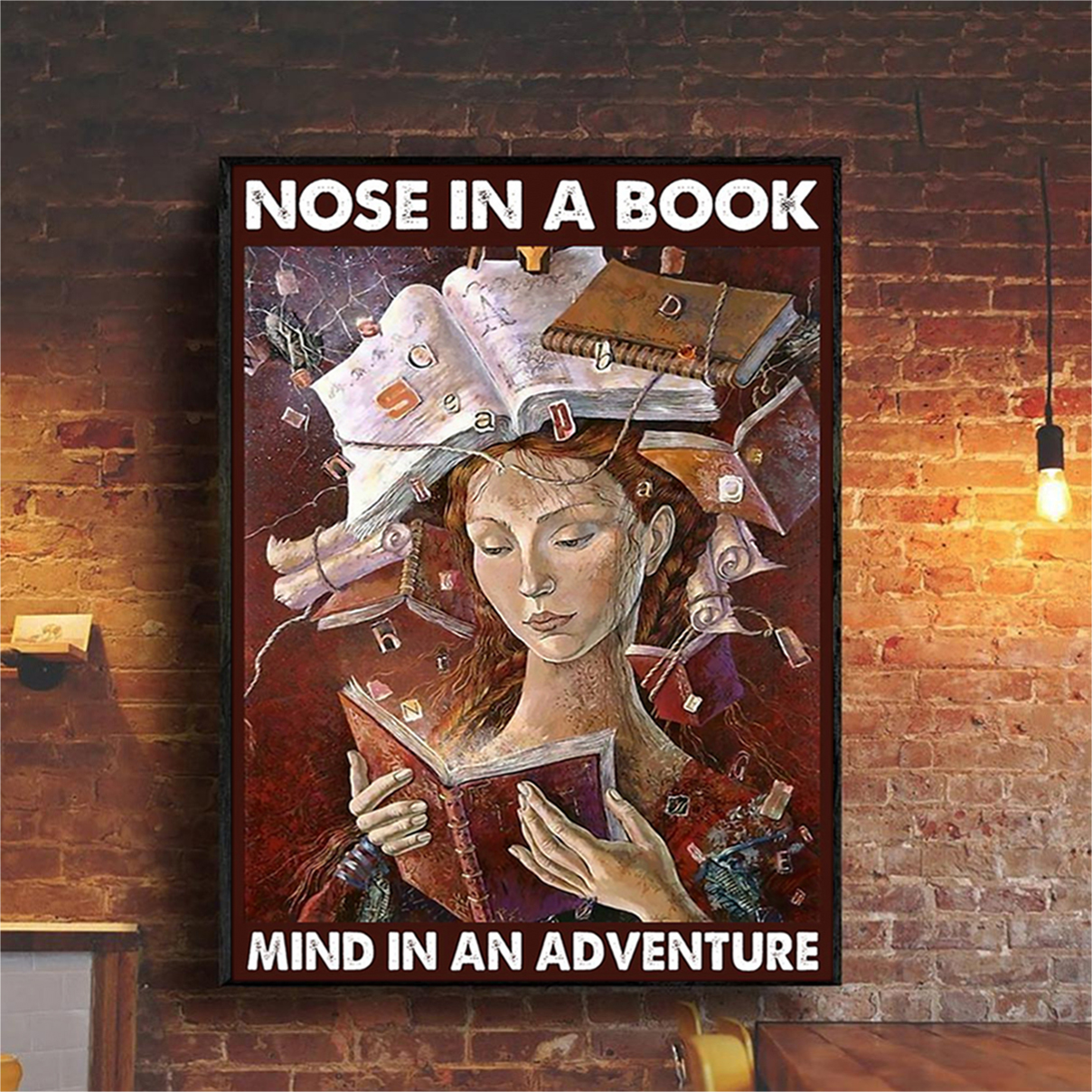 Nose in a book mind in an adventure poster A1