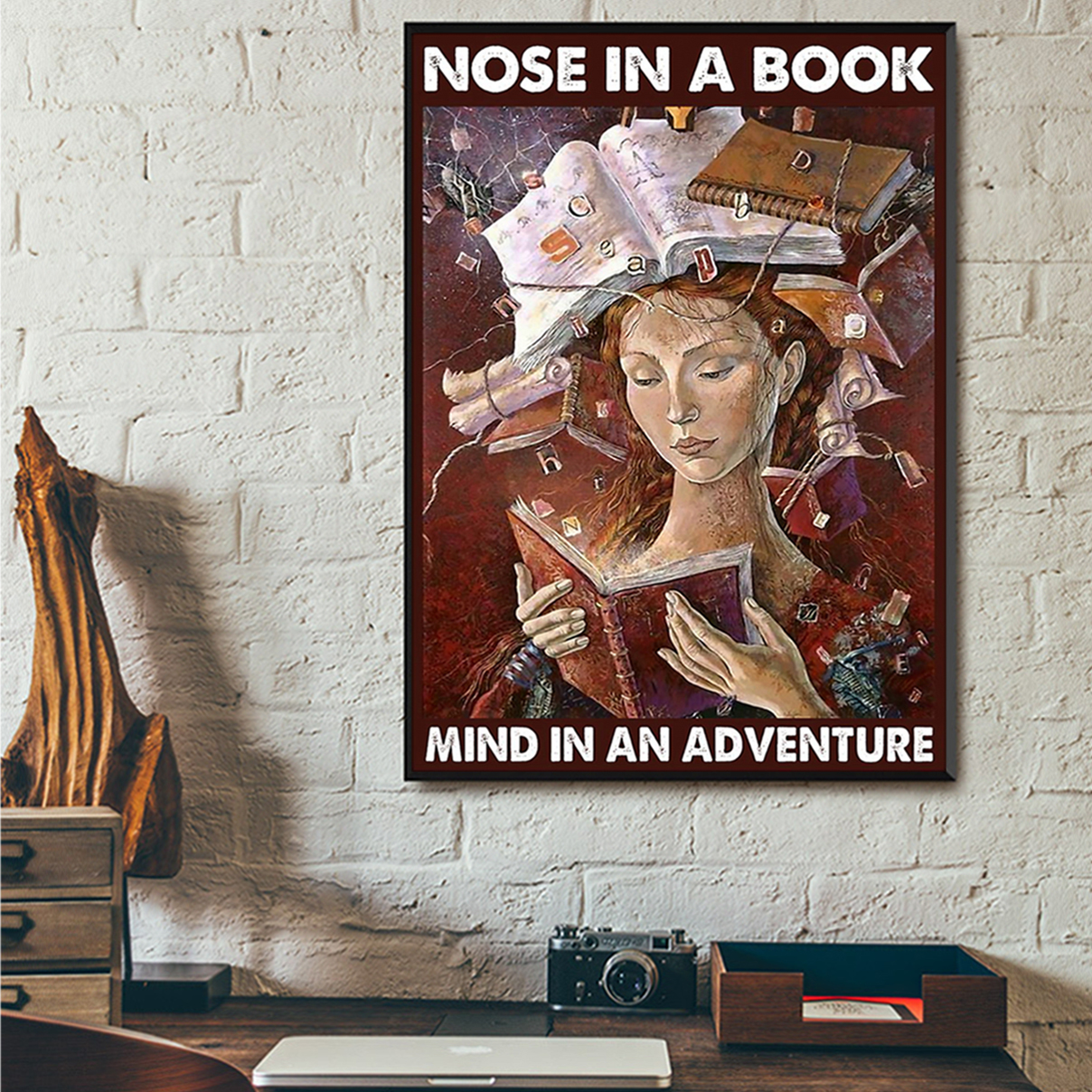 Nose in a book mind in an adventure poster A2