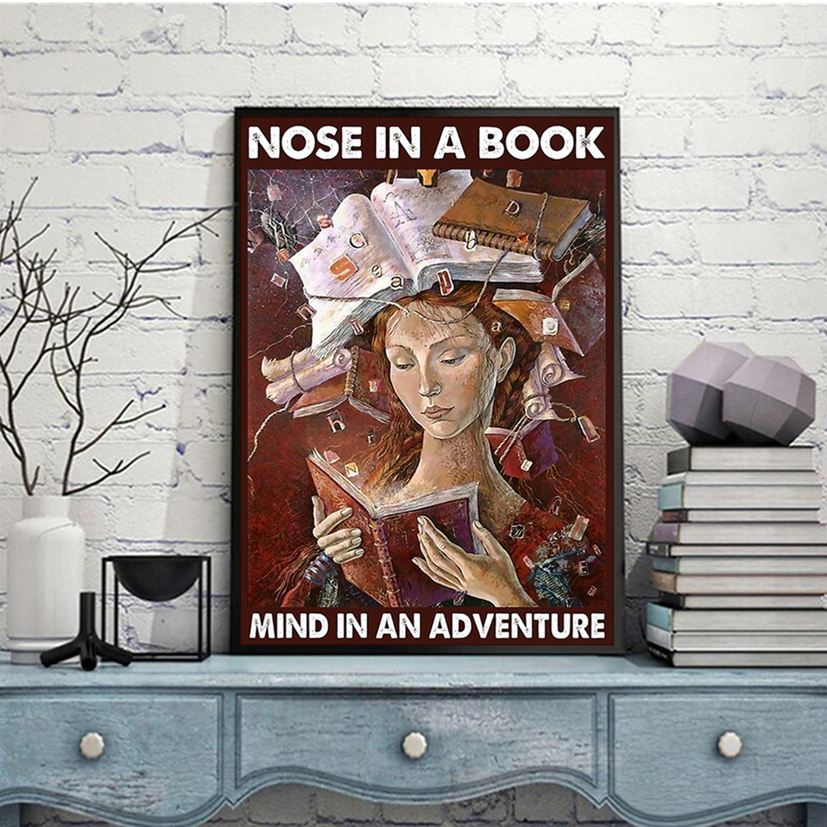 Nose in a book mind in an adventure poster A3