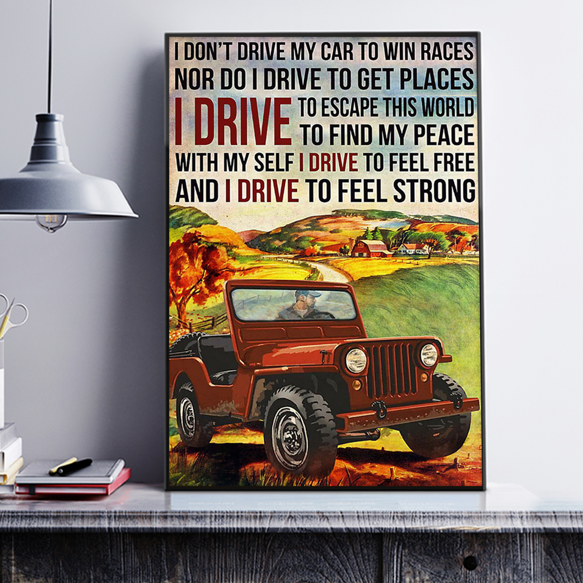 Off-road I don't drive my car to win races poster A1