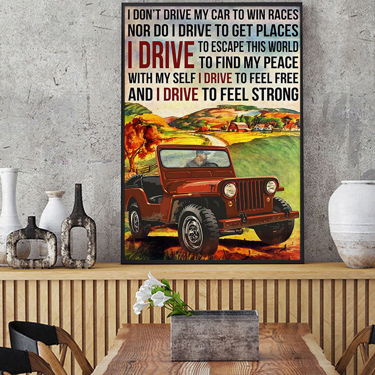 Off-road I don't drive my car to win races poster A2