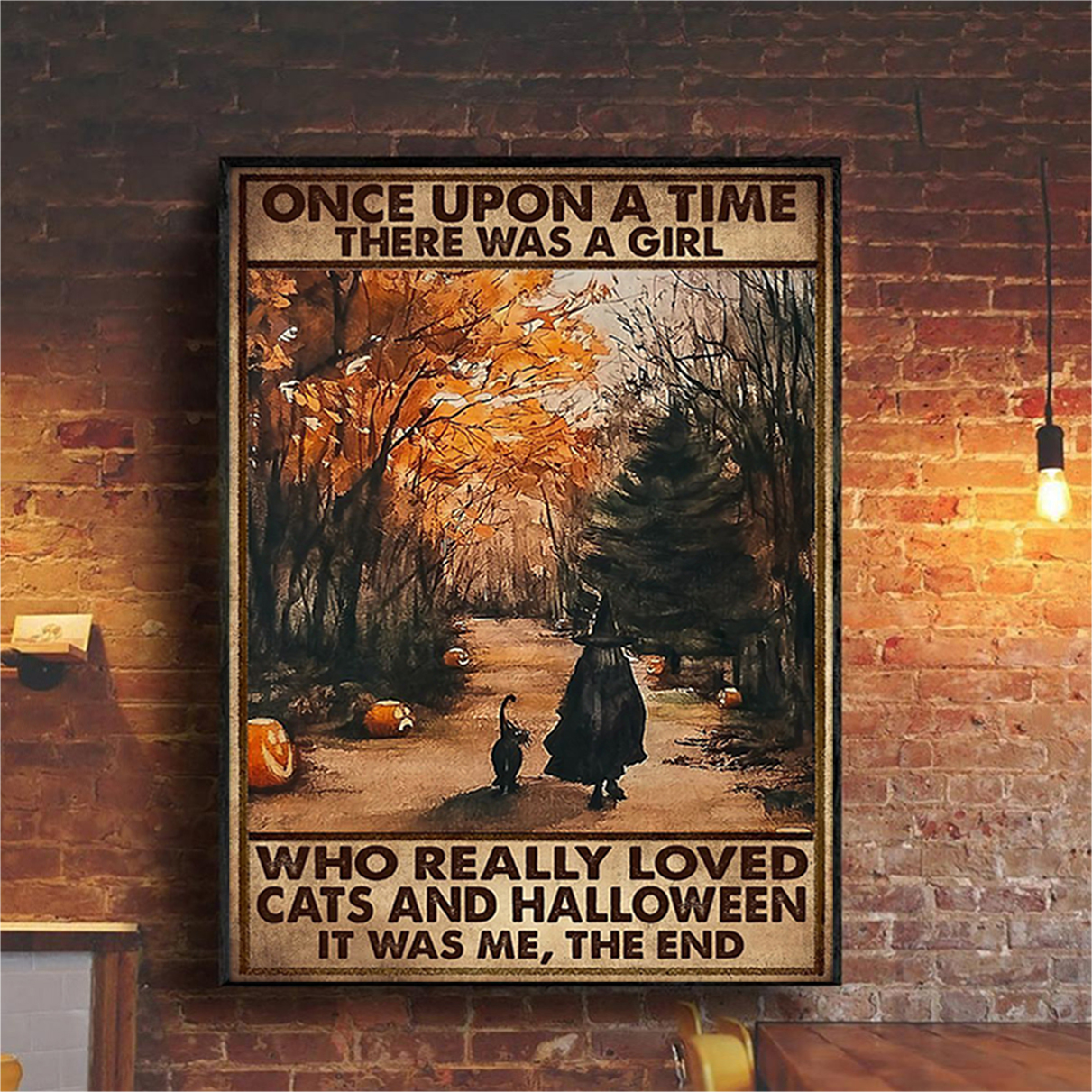 Once upon a time there was a girl who really loved cats and halloween poster A3