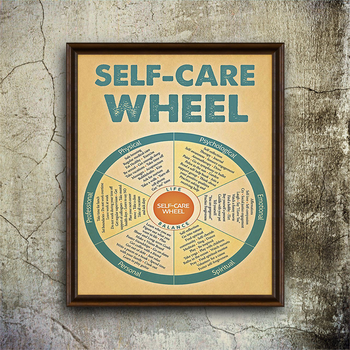 Poster social worker self-care wheel A2