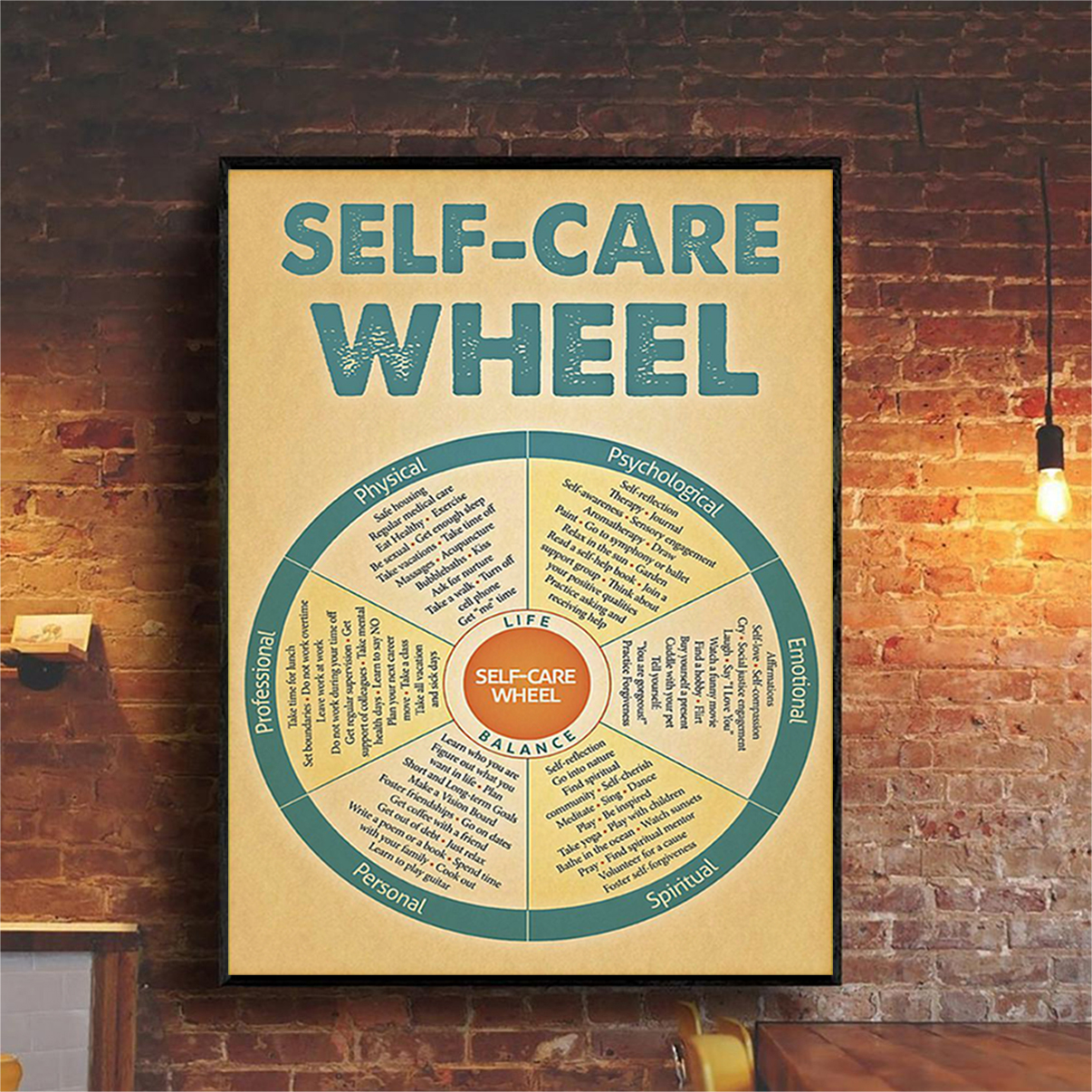 Poster social worker self-care wheel A3