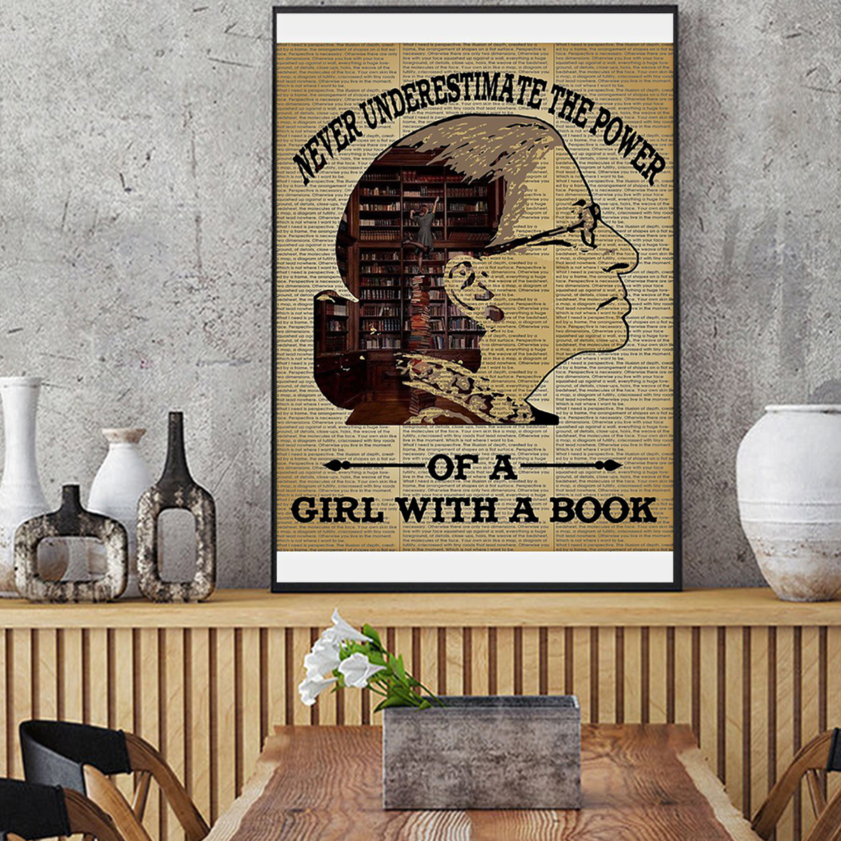 Ruth bader ginsburg never underestimate the power of a girl with a book poster A1