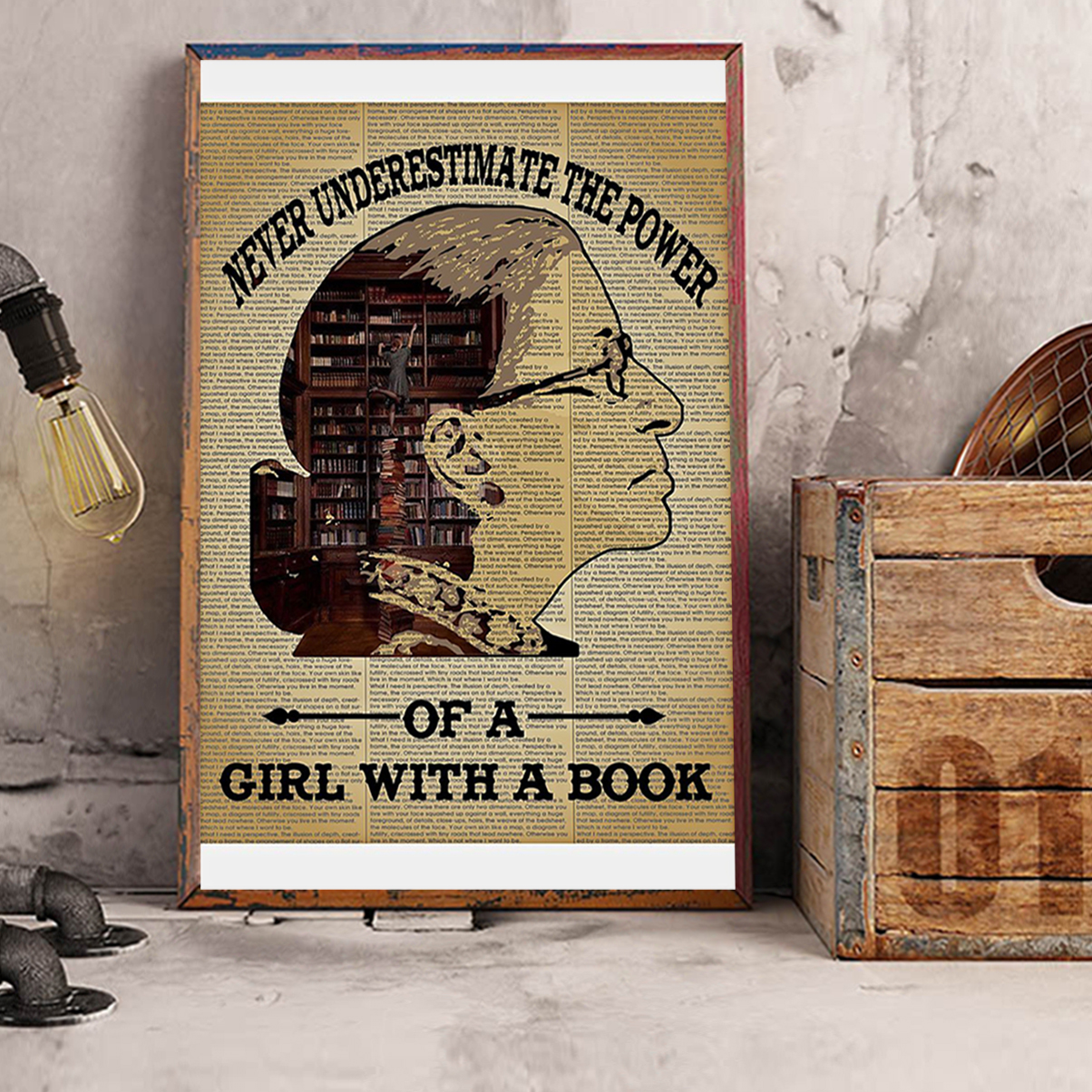 Ruth bader ginsburg never underestimate the power of a girl with a book poster A3