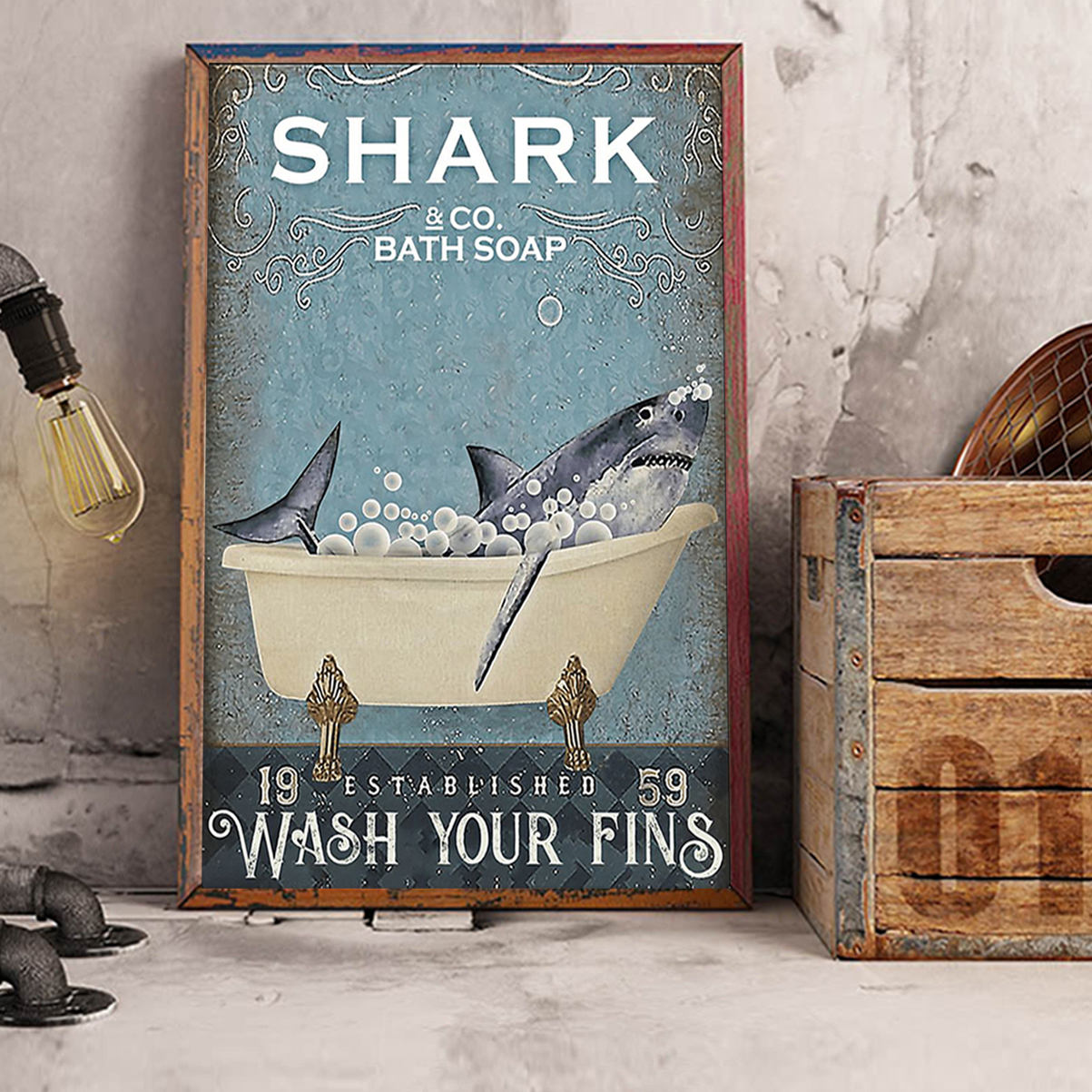 Shark and co bath soap wash your fins poster A3