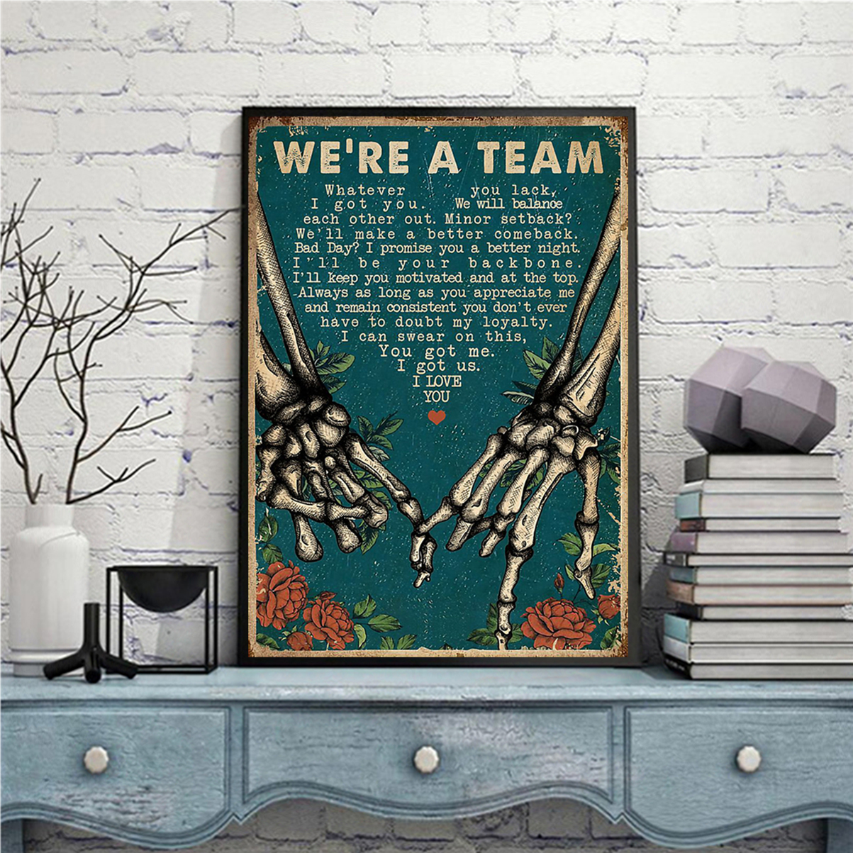 Skeleton retro we're a team poster A1