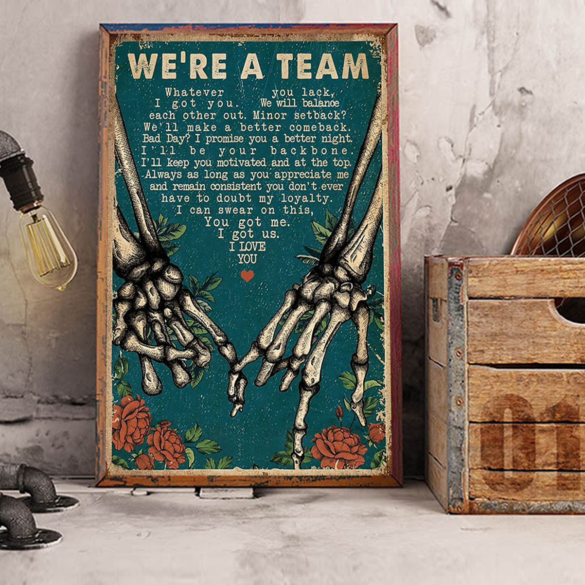 Skeleton retro we're a team poster A2