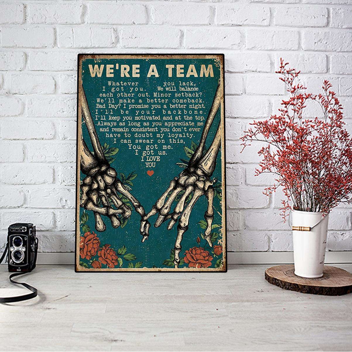Skeleton retro we're a team poster A3