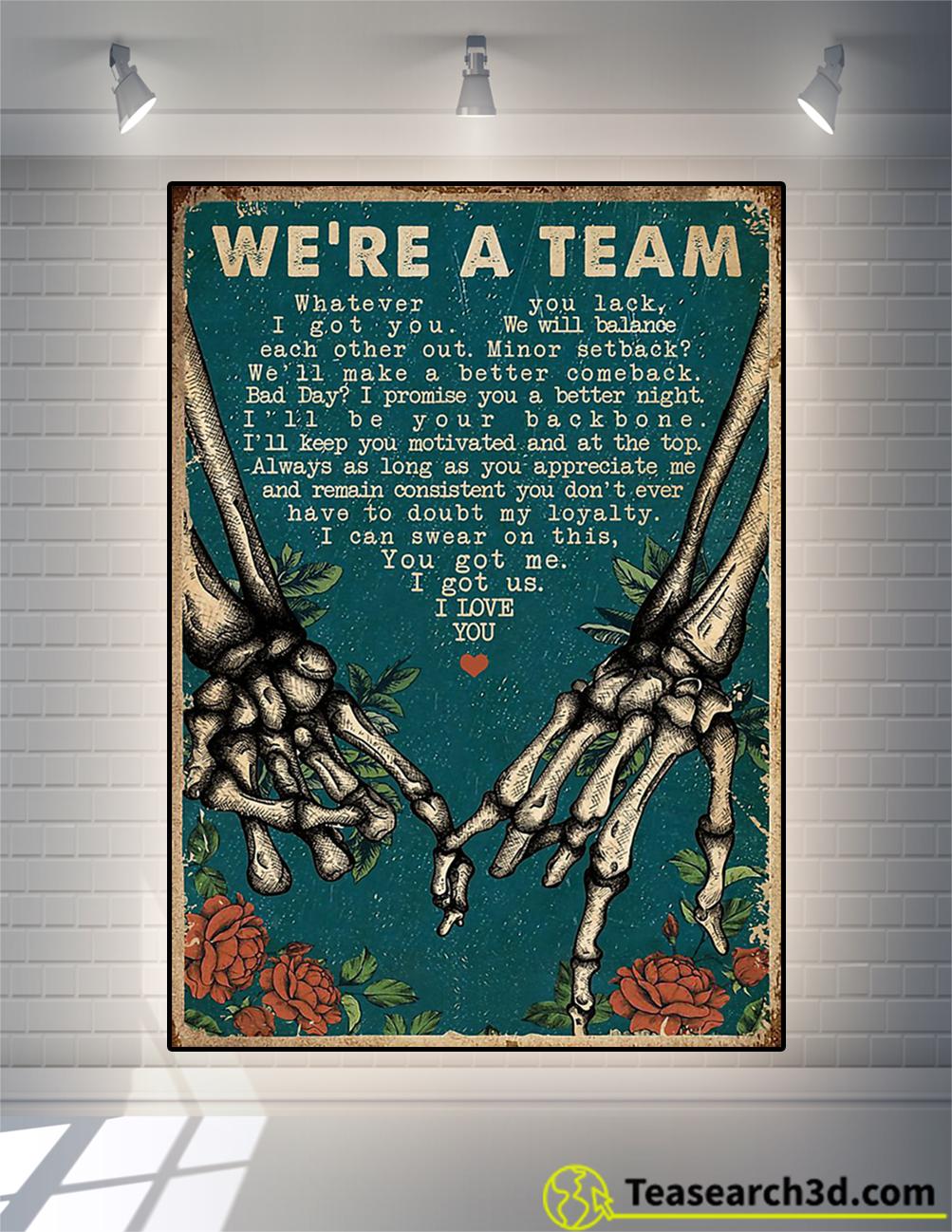 Skeleton retro we're a team poster