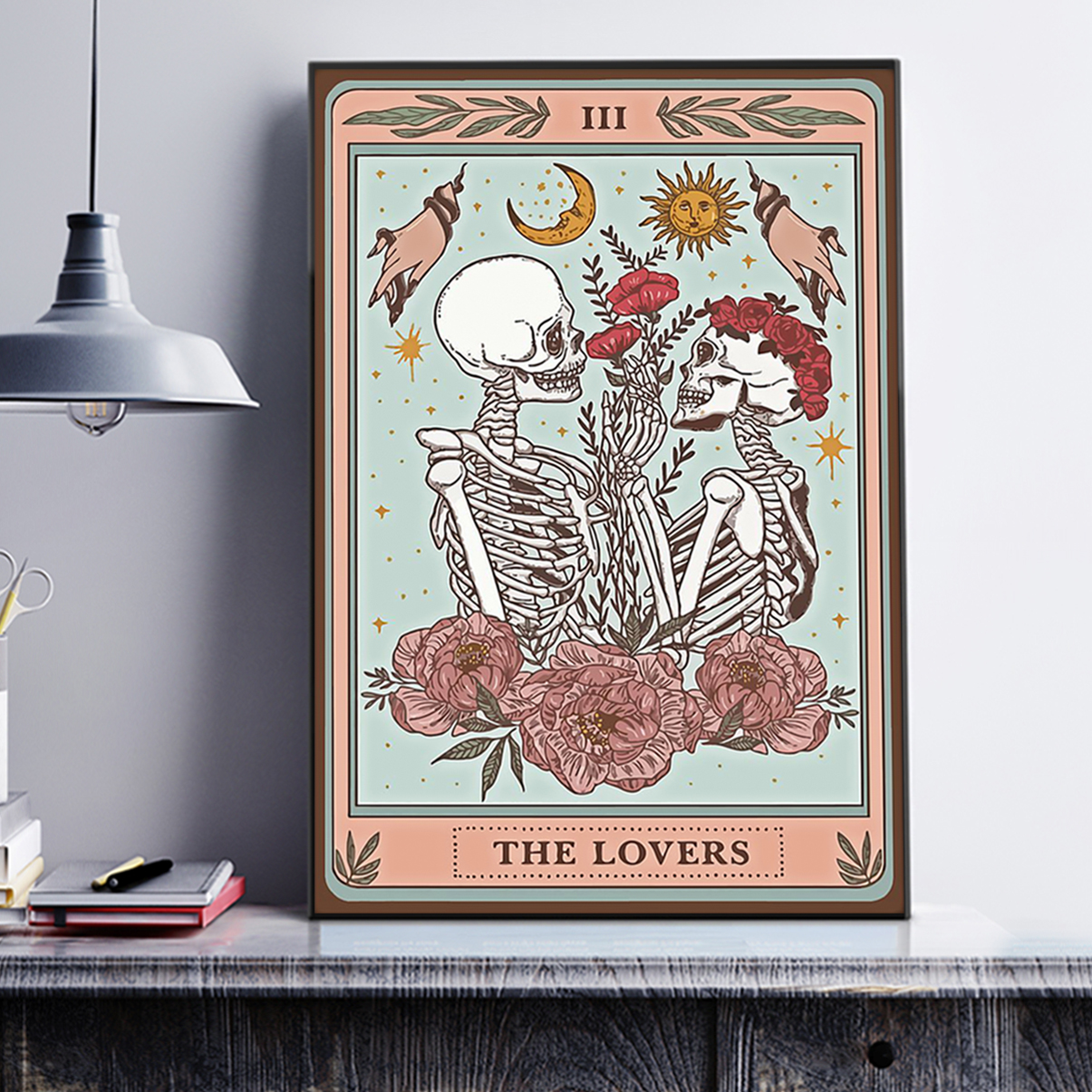 Skeleton tarot card the lovers poster A1
