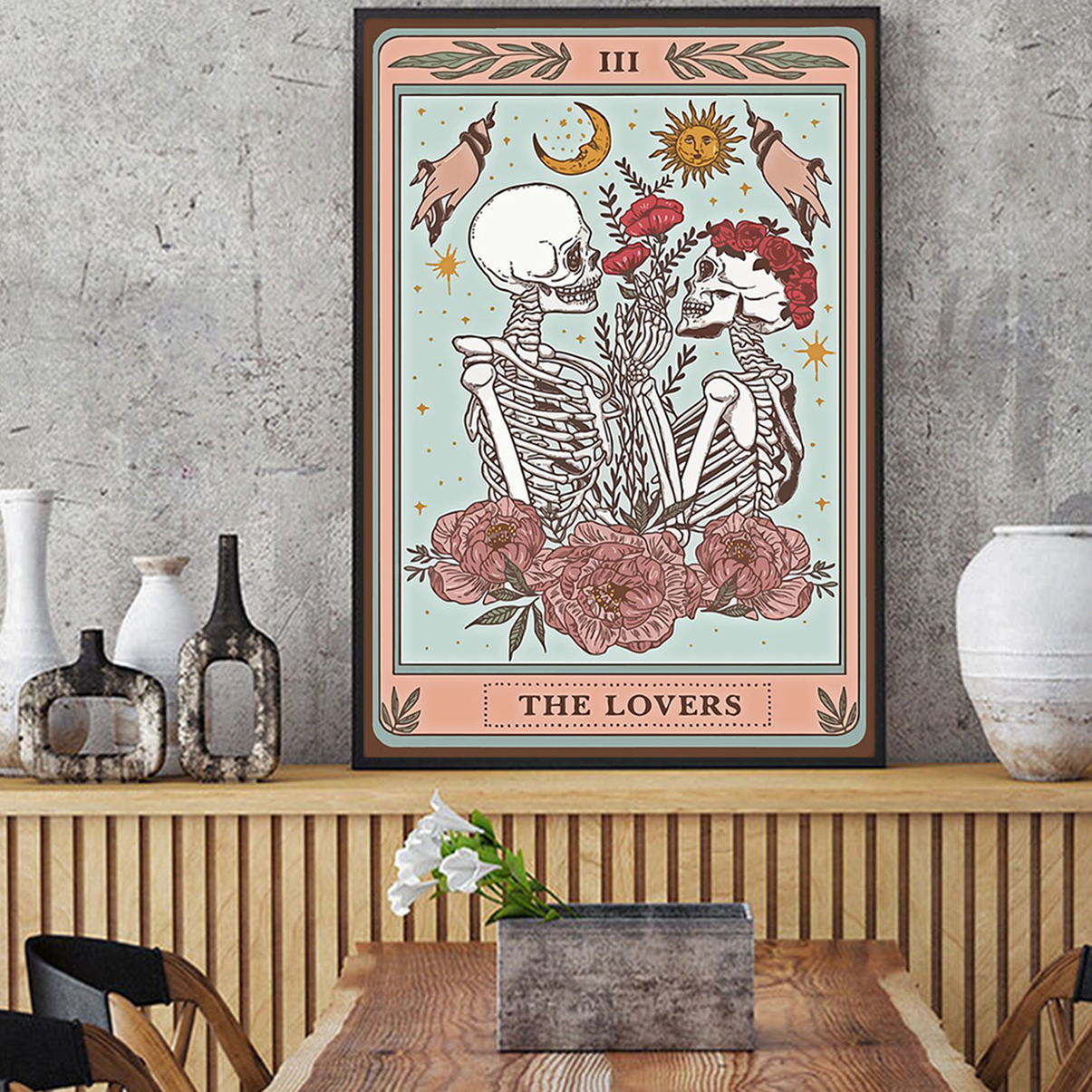 Skeleton tarot card the lovers poster A2