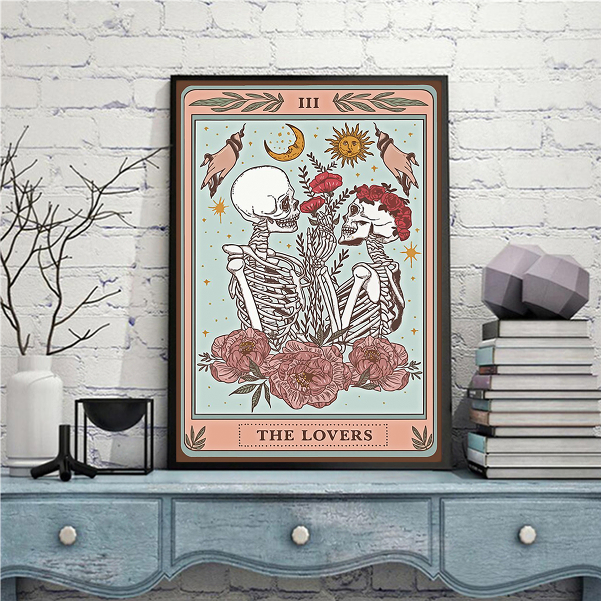 Skeleton tarot card the lovers poster A3