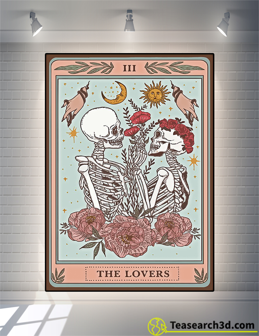 Skeleton tarot card the lovers poster