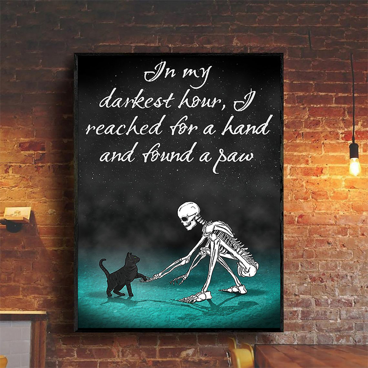 Skull In my darkest hour I reached for a hand and found a paw poster A2